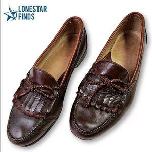 Footjoy Brown Tie Leather Slip On Loafers Sz 10
